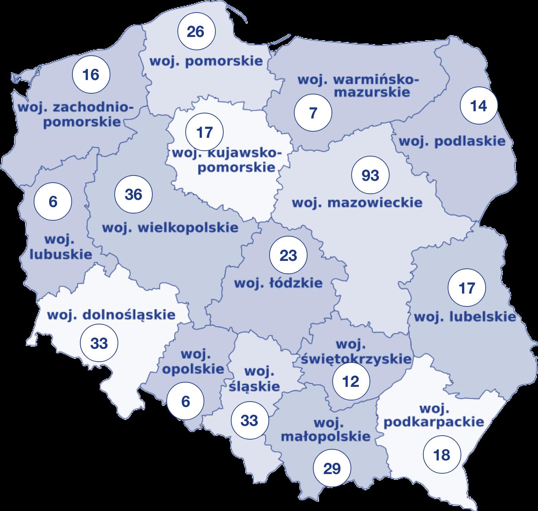 mapa polski z podziałem na województwa, na których umieszczono w punktach liczby symbolizujące ilość uczelni.