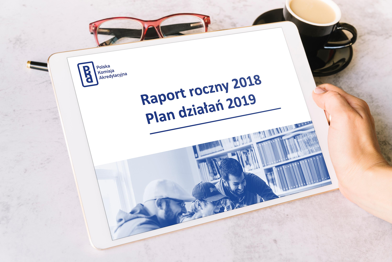 ozdobna grafika przedstawiająca publikacje raport roczny 2018 Plan działań 2019 na tablecie