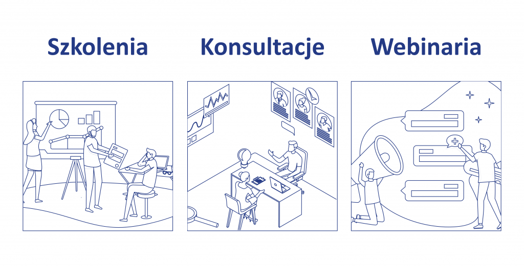 ilustracja mająca charakter wizualny przedstawiającą szkolenia, konsultacje, webinaria.